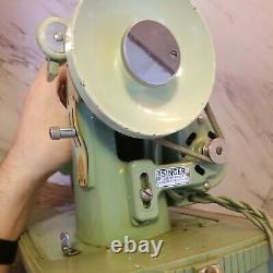 185K Singer Sewing Machine Mint Green Heavy Duty With Case Vintage WORKSLOOK