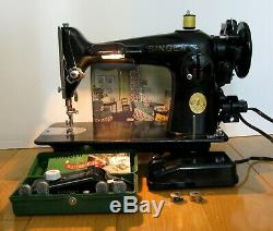 1947 Singer 201 2 Sewing Machine Heavy Duty Serviced Works Tested Running 201-2