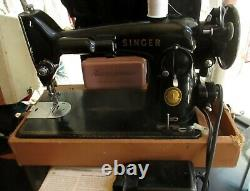 1956 Heavy Duty Singer 201 Sewing Machine Tested Ready To Use Manual Case Pedal