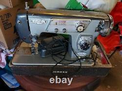 Blue Rare Macy's Deluxe Zig Zag Supre-Macy Morse Heavy Duty Sewing Machine Japan