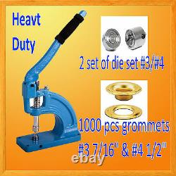 HAND PRESS HEAVY DUTY GROMMET MACHINE HOLE PUNCH 1000 GROMMETS # 3 & #4 Die