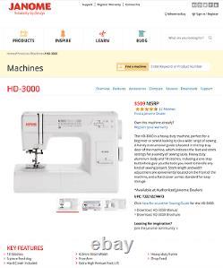New JANOME HD-3000 Heavy Duty Sewing Machine Free Shipping
