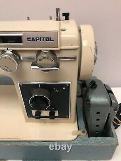 Rare Vintage Capitol Blue & Cream Sewing Machine With Pedal! So Heavy