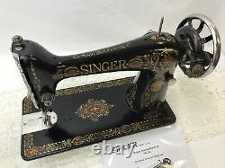 SERVICED Antique Singer Sewing Machine Red Eye Ornate Treadle Head 66 Heavy Duty