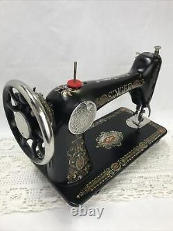 SERVICED Antique Vtg Singer 66 Sewing Machine Red Eye Treadle Head Heavy Duty