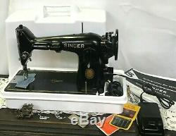 SERVICED Direct Drive Heavy Duty Vtg Singer 201-2 Sewing Machine Denim Leather
