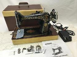 SERVICED Heavy Duty Vtg Ornate Red Eye Singer 66 Sewing Machine Denim, Leather