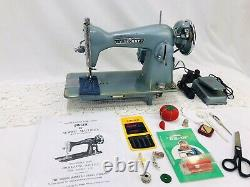 SERVICED Heavy Duty Vtg Singer 15 Clone Sewing Machine Turquoise Denim Leather