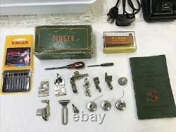 SERVICED Heavy Duty Vtg Singer 66 Sewing Machine Denim Leather Ornate Gold Black