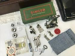 SERVICED Heavy Duty Vtg Singer Sewing Machine 99K Bentwood Case Denim, Leather
