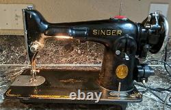 Singer 201-2 Vintage 1941 Heavy Duty Sewing Machine Tested Working