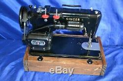 Singer 319w Zigzag Black Sewing Machine In Base Serviced Sew Heavy Materials