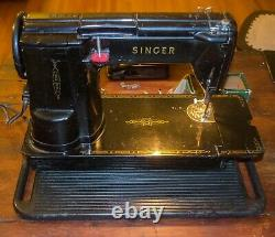 Singer Black 301A Sewing Machine Short Bed Slant Heavy Duty with Pedal & Many Feet