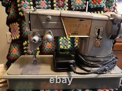 Singer Vintage 328K Sewing Machine 1960s Heavy Duty Upholstery w Pedal & Case