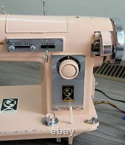 VTG Pink Altas Heavy Duty Zig-Zag Sewing Machine AZ-59 Works Clean