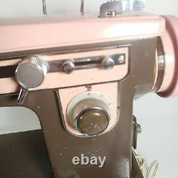 Vintage Japan Brother Charger 651 Heavy Duty Sewing Machine Retro Pink Brown