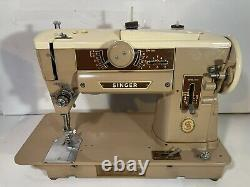 Vintage SINGER 401A Slant-O-Matic Sewing Machine HEAVY DUTY + Case, Accessories