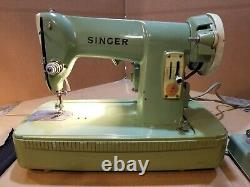 Vintage Singer 185K Sewing Machine Mint Green Heavy Duty With Case Tested
