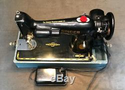 Vintage Singer 201-2 Heavy Duty Sewing Machine -Serviced With Pedal And Case