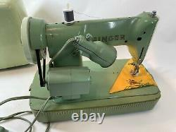 Vintage Singer HEAVY Mint Green Steel Mid Century RFJ8-8 Sewing Machine WORKS
