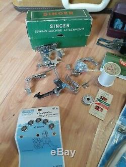 Vtg Singer 301A Sewing Machine Short Bed Heavy Duty Gear Drive Serviced Works