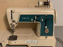 Vtg Singer 677G Flatbed Heavy Duty Sewing Machine + Attachments & Case TESTED