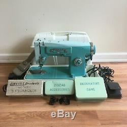 White Heavy Duty 3355 Zig Zag Sewing Machine with Original Accessories Cams Manual