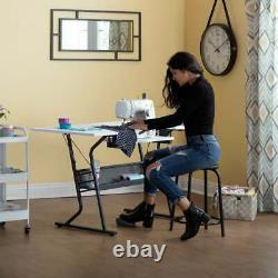 White Heavy Duty Adjustable Platform Sewing Machine Workstation Craft Table Desk
